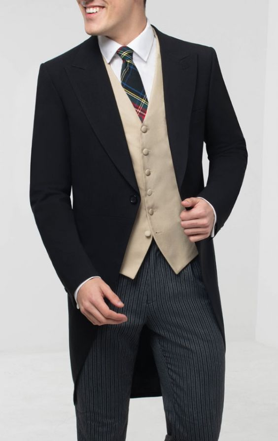 Schwarzer Cutaway Anzug, Weste, Hemd & Krawatte | Dobell